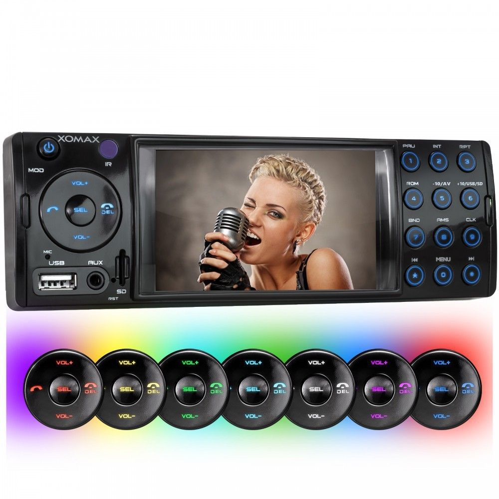 BLUETOOTH AUTORADIO MUSIK & VIDEO von USB/SD+MP3 MP4 WMA AVI ID3 TAG AUX IN 1DIN