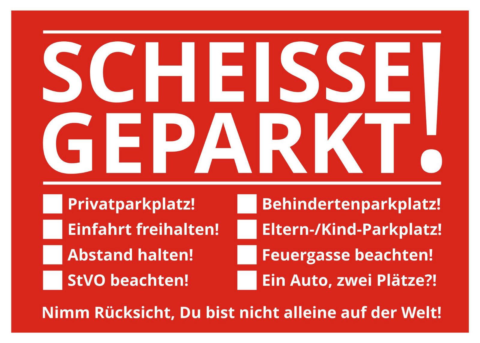 Notizblock Scheisse Geparkt für die Windschutzscheibe 50 Blatt Rot Falschparker