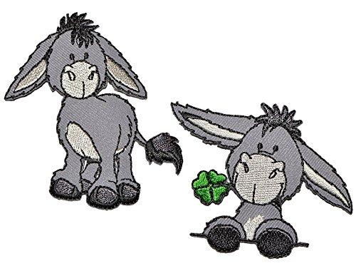2 tlg. Set Nici Esel - 6,8 cm * 5,8 cm - Bügelbild Aufnäher Applikation - Pferd steht grau Tier Bauernhof Tiere Hausesel Klee Glück
