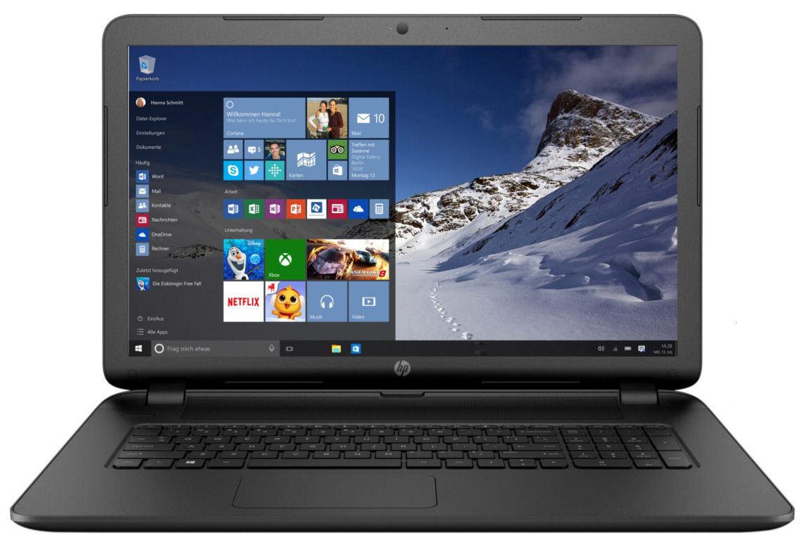HP Notebook 17 Zoll Quad Core 4x 2,5 GHz 500 GB USB 3.0 8 GB Ram Windows 10 Pro
