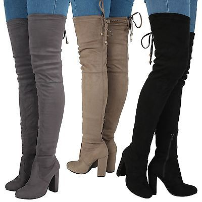 Jazz Womens Mid High Block Heel Over Knee Tie Top Boots Ladies Shoes Stretch New