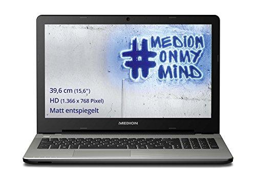Medion E6415 15,6 Zoll (39,6 cm) Notebook mit mattem HD Display (Intel Pentium 3805U, 1,9GHz, 8GB RAM, 1TB HDD, Intel HD Graphics, DVD RW, Win 10 Home) silbergrau