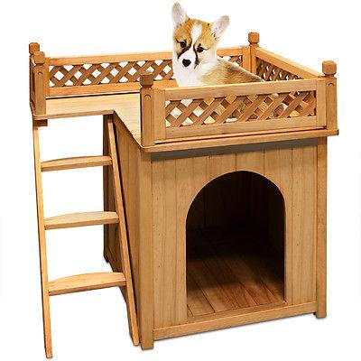 Hundehütte Sonnenterrasse Hundehaus Tierhaus Hundehöhle Hund Holz Box Garten