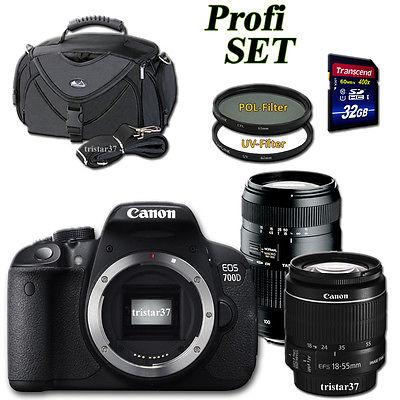 Canon Kamera EOS 700D 18-55 + 70-300mm Tele Objektiv + Filter + Zubehörpaket NEU