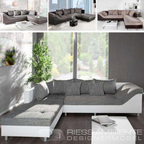 Design Ecksofa SULTAN Strukturstoff FARBWAHL großes Sofa Couch Wohnlandschaft