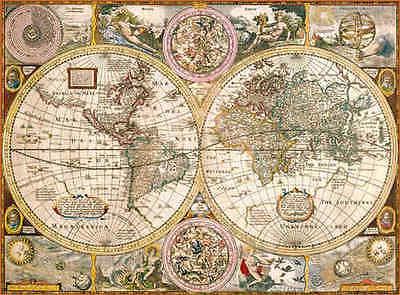 Weltkarte, antik Alte Karte Clementoni 3000 Teile Puzzle 33531 NEU + OVP