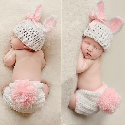 Foto Kostüm Neugeborene Jungen blau Mädchen rosa Osternhase Fotoshooting