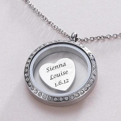 Glass Locket necklace &  Charm Engraved with Names, Dates - Engraving Included!