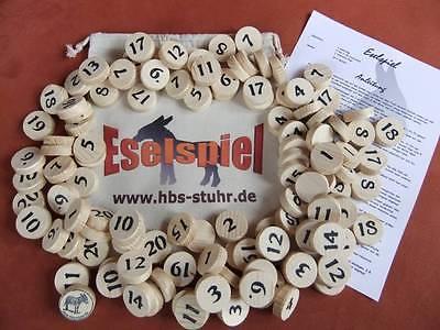 Eselspiel ~ 121 Spielsteine aus Holz ~ Alles Handarbeit Neu