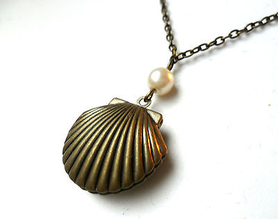 Bronze Sea Shell Mermaid's Locket faux pearl, scallop necklace 18