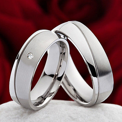 Eheringe Verlobungsringe Trauringe aus Edelstahl mit Zirkonia+ Ringe Gravur H012