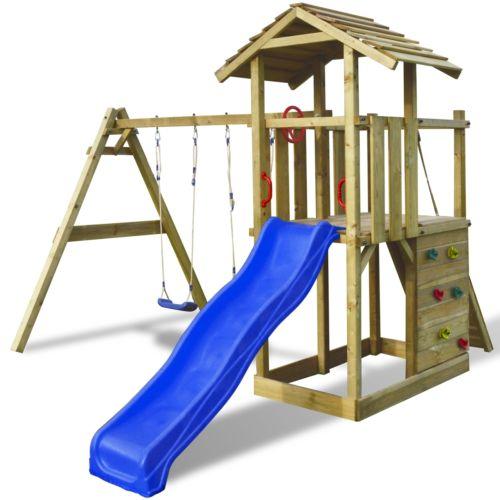 Holz Spielturm Kletterturm Spielwelt Spielhaus Schaukel Rutsche Sandkasten