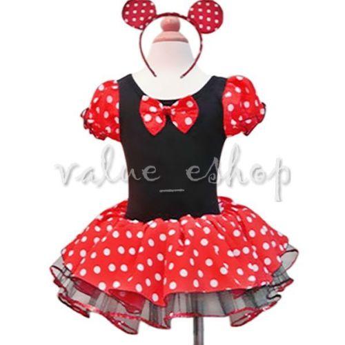 Minnie Mouse Maus Baby Kinder Mädchen Fasching Karneval Kostüm Kleid Mit Ohren