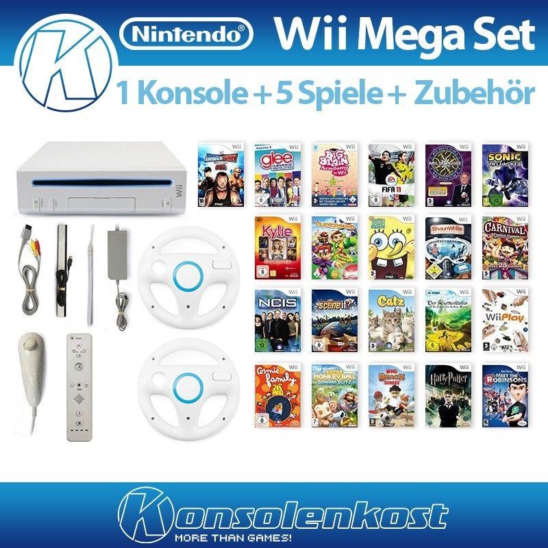 Nintendo Wii - Konsole MegaSet #weiß (inkl. 5 Spiele, Remote & Zub.)