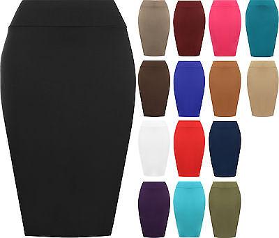 New Womens Plain Bodycon Pencil High Waisted Ladies Stretch Midi Skirt 8 - 14