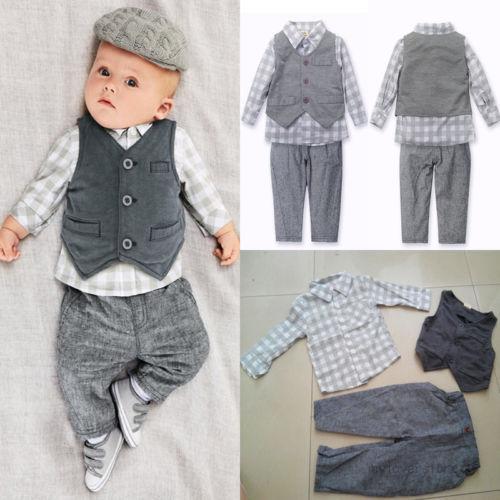 Mode Gentleman Baby Jungen Weste Shirt Hose Set Outfits Strampler Anzug Kleidung