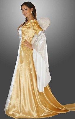 Engel Kostüm gold Eneye Gr. 38 40 42 44 Mittelalter Kleid Engelskostüm Reifrock
