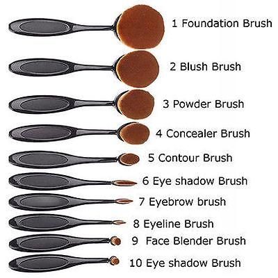 10x Profi Foundation Oval Pinsel Puderpinsel Kosmetik Brush Make Up Zahnbürste
