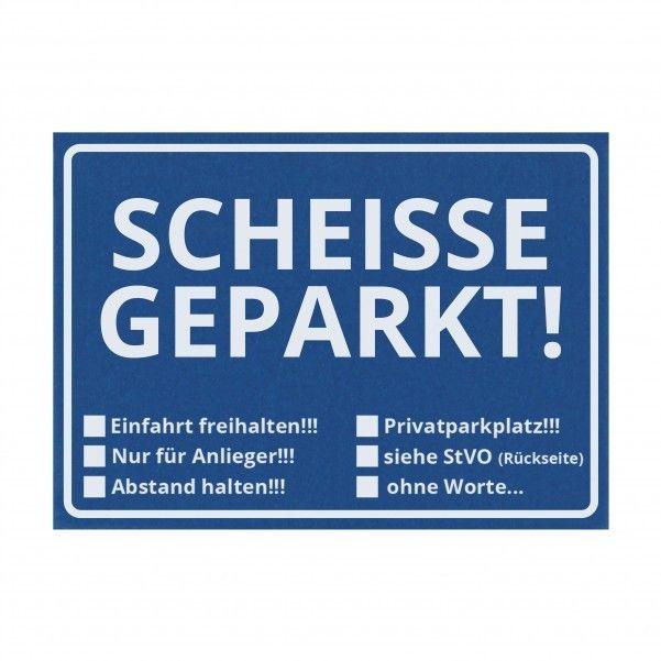 Notizzettel Scheisse Geparkt! für die Windschutzscheibe mit StVO im 50er Set