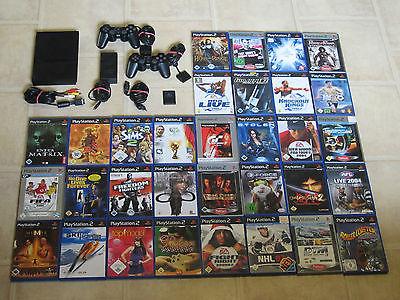 Playstation 2 Slim mit 5 Gratis Spiele + 2 Controller + MC PS2 PS 2 Konsole