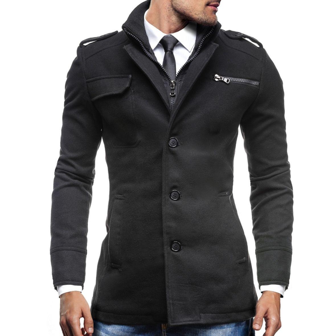 BOLF PPM 8856 Herrenmantel Schwarz Mantel Jacke TOP Wintermantel Men 4D4 Sakko