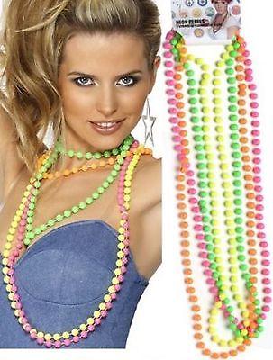 1980's Neon Fluorescent Disco 80s Beads Fancy Dress Costume Accessory 4 Colours