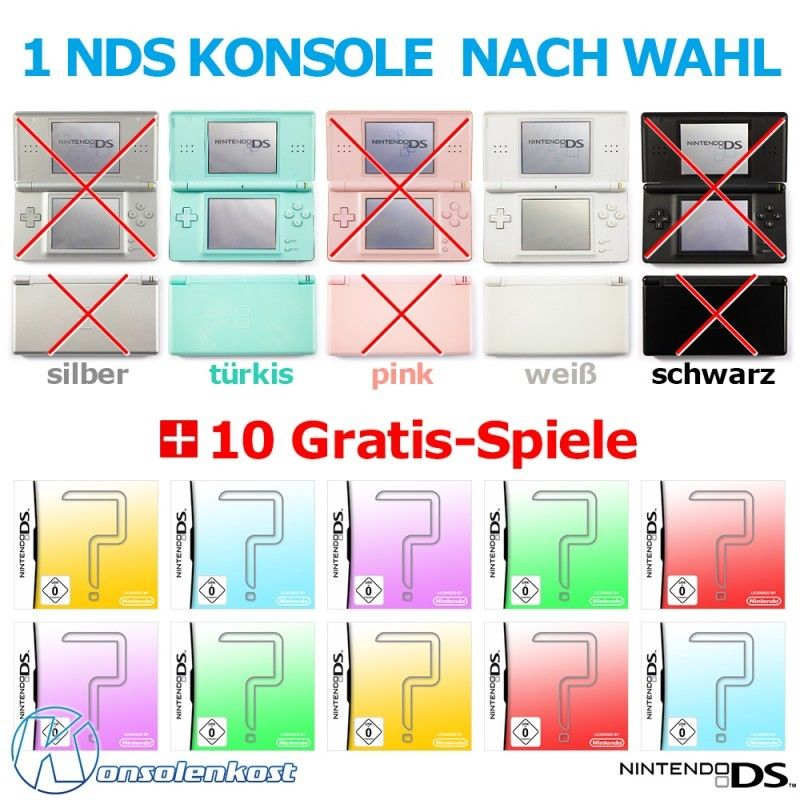 NDS Konsole Lite #MegaSet 1 Konsole #Farbe nach Wahl + 10 NDS Spiele   TO