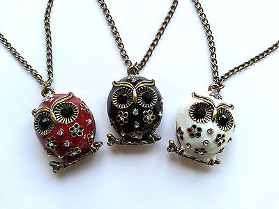 Women Vintage Rhinestone OWL Pendant Long Chain Necklace Fashion Jewellery Gift