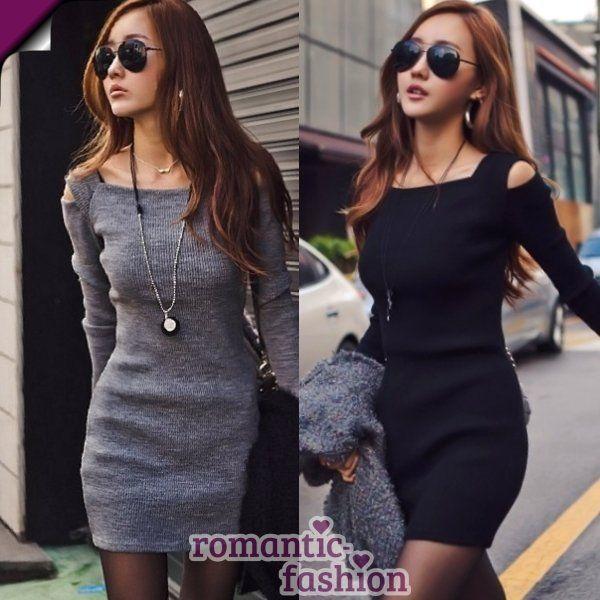 ?Größe 32-38 Minikleid Longshirt Strickkleid Tunika Kleid+Grau od. Schwarz+NEU?