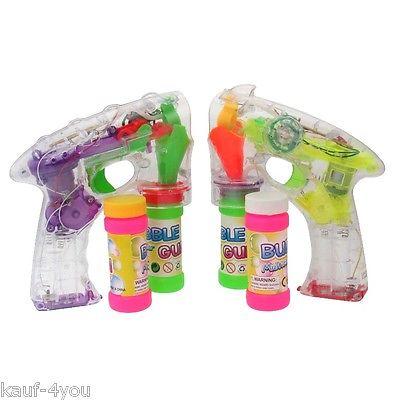 2x Bubble Gun Seifenblasenpistole LED/Sound 2 Guns 4 Seifenbehälter 1 PREIS