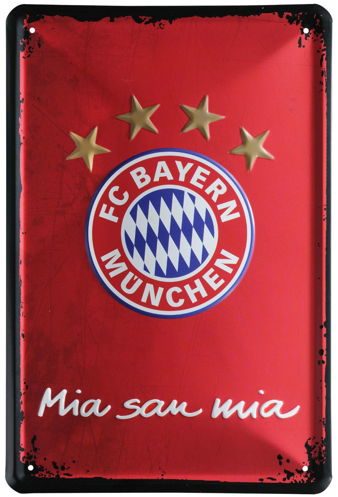 FC BAYERN MÜNCHEN Metallschild Dekoschild Wandschild Wanddeko Mia san mia 20744