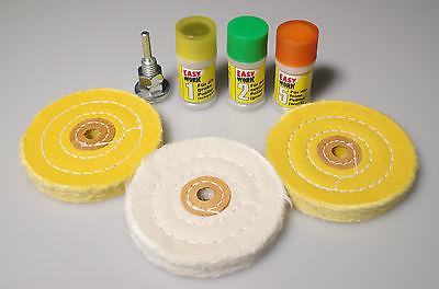 Polierset 7 tlg. mit Polierpaste Polierscheiben mit Spanndorn Alufelgen polieren