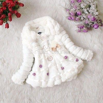 Baby Mädchen Kinder Blumen Perlen Webpelz Winter Warme Jacke Mantel Gr. 86-110