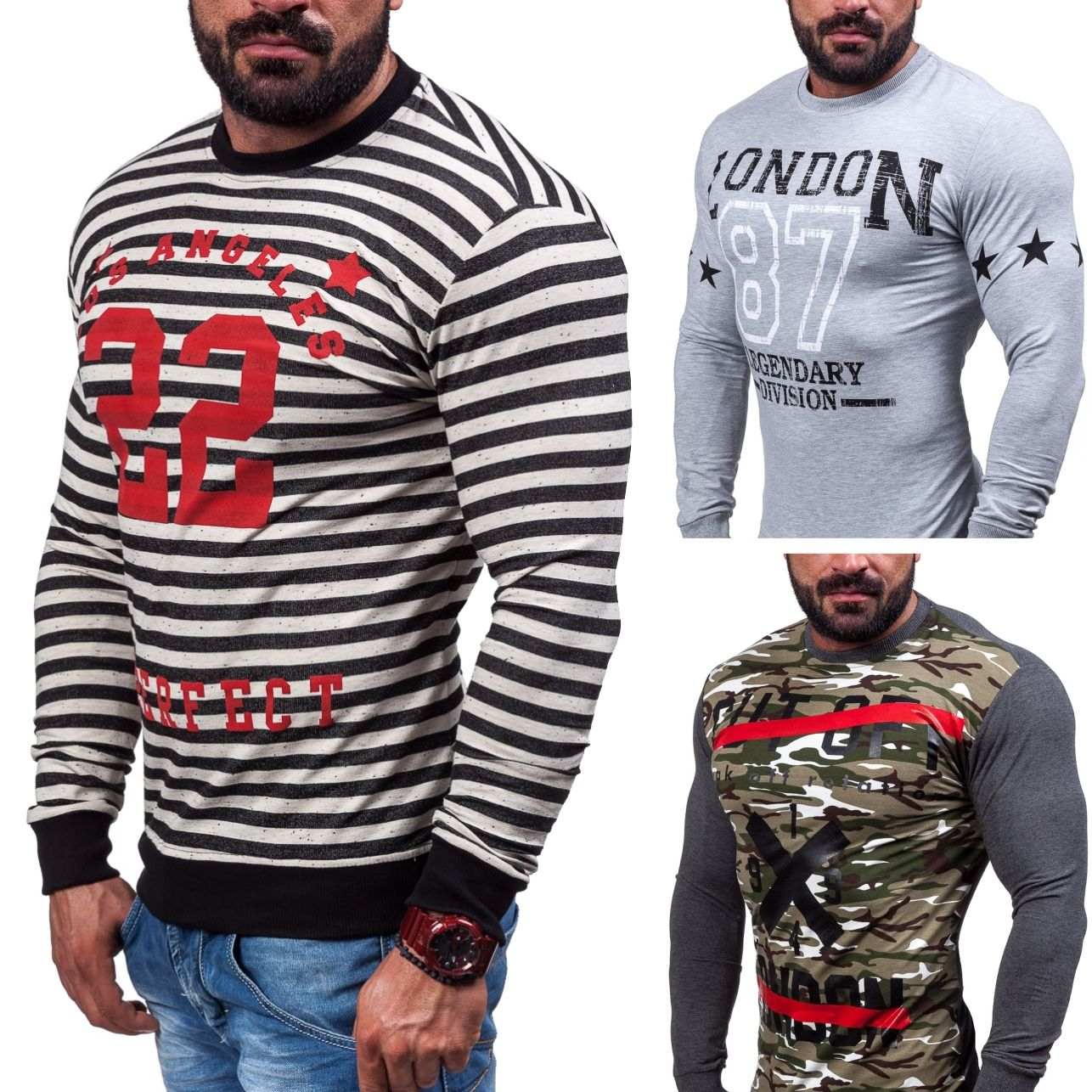BOLF Sweatshirt Herren Motiv Army Langarm Camo Pullover Military MIX 1A1 Men