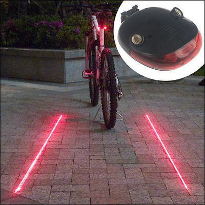 Neu Design Fahrrad Rücklicht 5 LED + 2 Laser Bicycle Blitz Rückleuchte