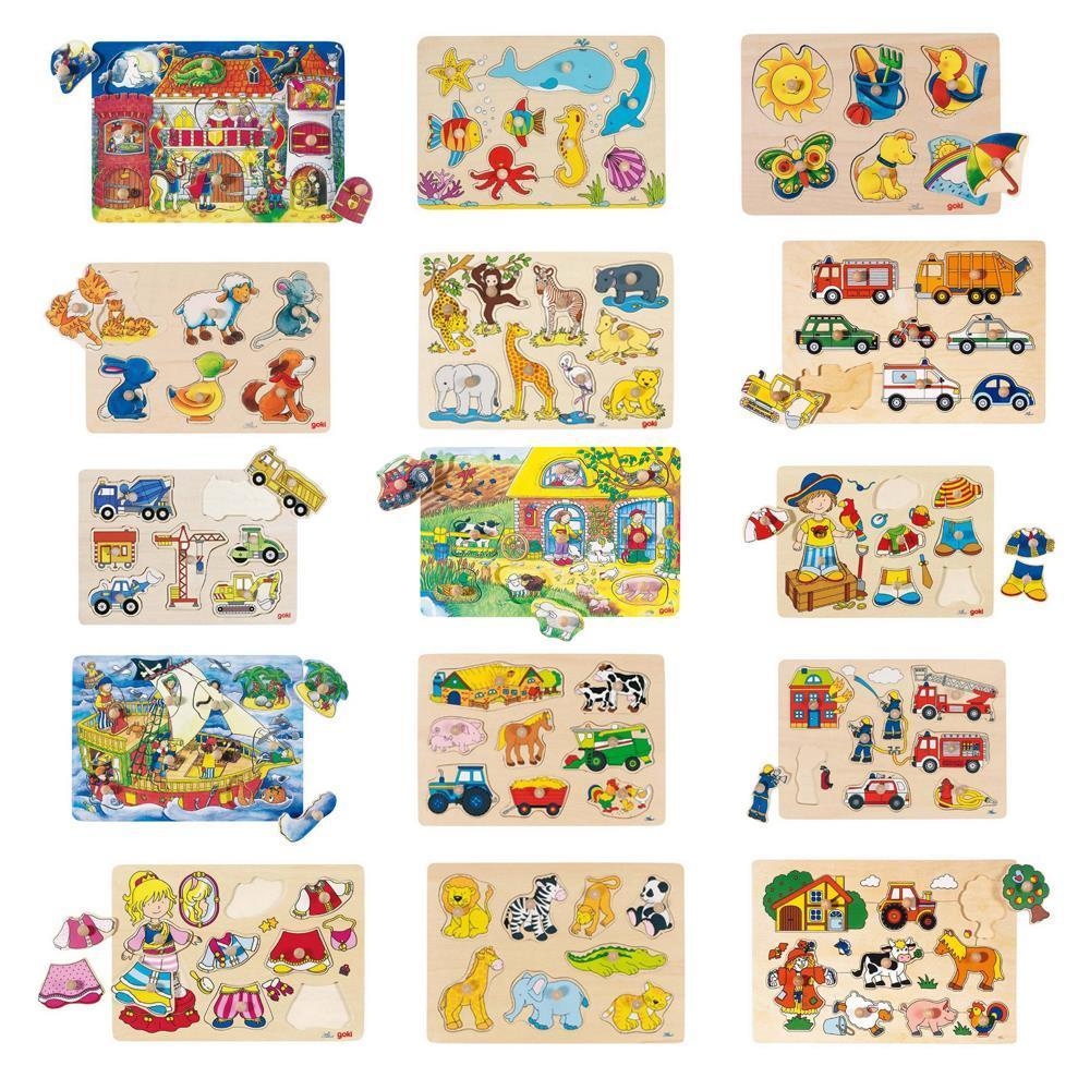 Kinderpuzzel Holzsteckpuzzle Holzspielzeug Lernspielzeug Motorikspielzeug Holz