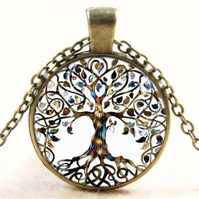 Vintage Bronze Lebensbaum Anhänger Halskette Damen Cabochon Glas Modeschmuck