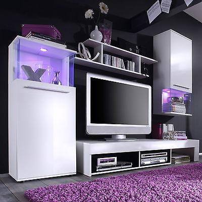 Wohnwand Punch Anbauwand inkl. RGB Beleuchtung in weiß und glänzend