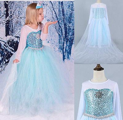 Kinder Frozen Eiskönigin Elsa Kostüm Mädchen Cosplay Kleid Fancy Kleid