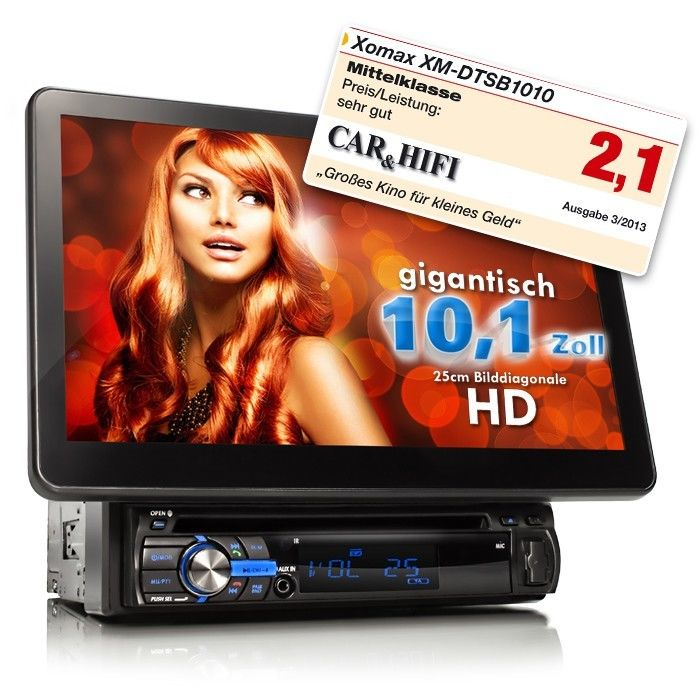 AUTORADIO MIT 25cm(!) HD TOUCHSCREEN BILDSCHIRM BLUETOOTH DVD/CD SD+USB MP3 1DIN