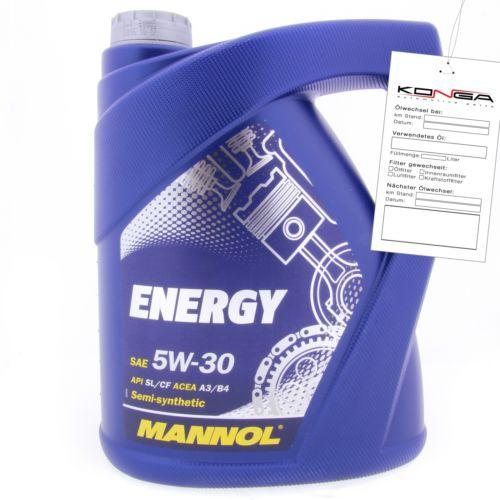 5 Liter MANNOL Energy 5W-30 API SL CF A3 B4 Motoröl 5W30