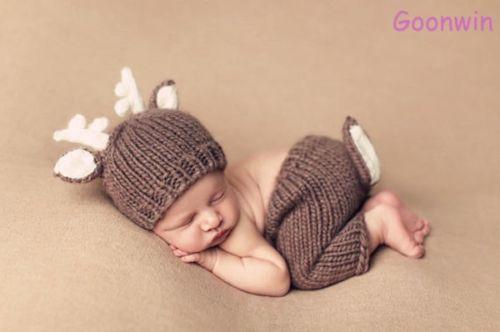 Neugeborene Baby Knit Strick Fotoshooting Kostüm Hirsch Mütze Höschen