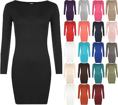 New Womens Long Sleeve Stretch Bodycon Ladies Plain Short Mini Dress Top 8-14