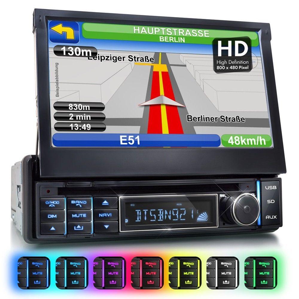 AUTORADIO MIT GPS NAVI NAVIGATION BLUETOOTH TOUCHSCREEN DVD/CD USB SD RDS 1DIN