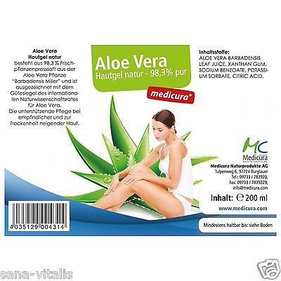 Medicura Aloe Vera Hautgel natur pur  98,3% 200ml Feuchtigkeitspflege