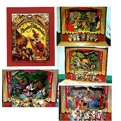 Theater-Bilderbuch mit 4 Kulissenbildern zum Aufstellen 4 Szenen Pop-up Reprint