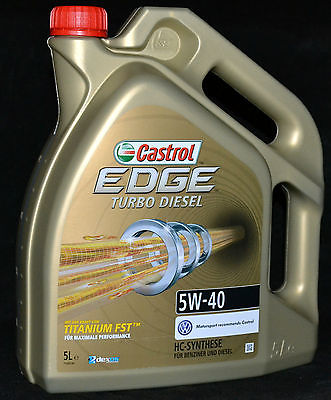 5 Liter Castrol EDGE FST TITANIUM Turbo Diesel 5W-40 Motoröl 5W40 VW FORD FIAT