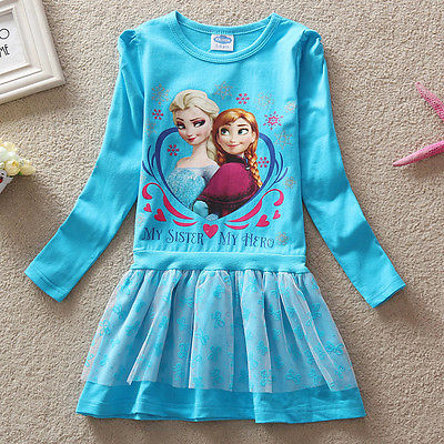 Kinder Mädchen Frozen Eiskönigin Elsa Anna Tunika Tutu Kleid Langarm GR.98-122
