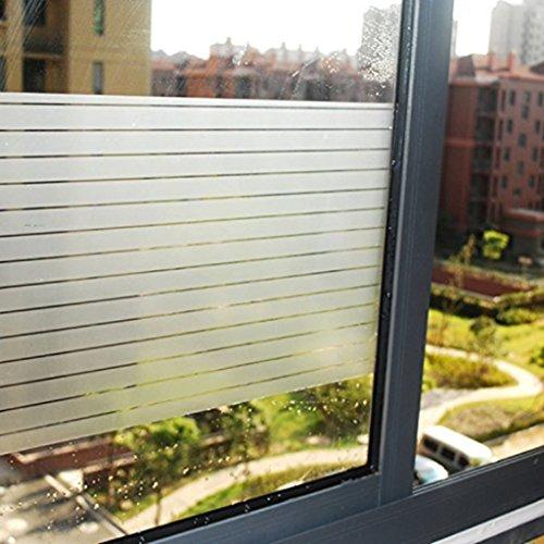 Aingoo 2D Weiß Streifen Fensterfolie Milchglasfolie Glasdekorfolie Sichtschutzfolie 028 90x200cm