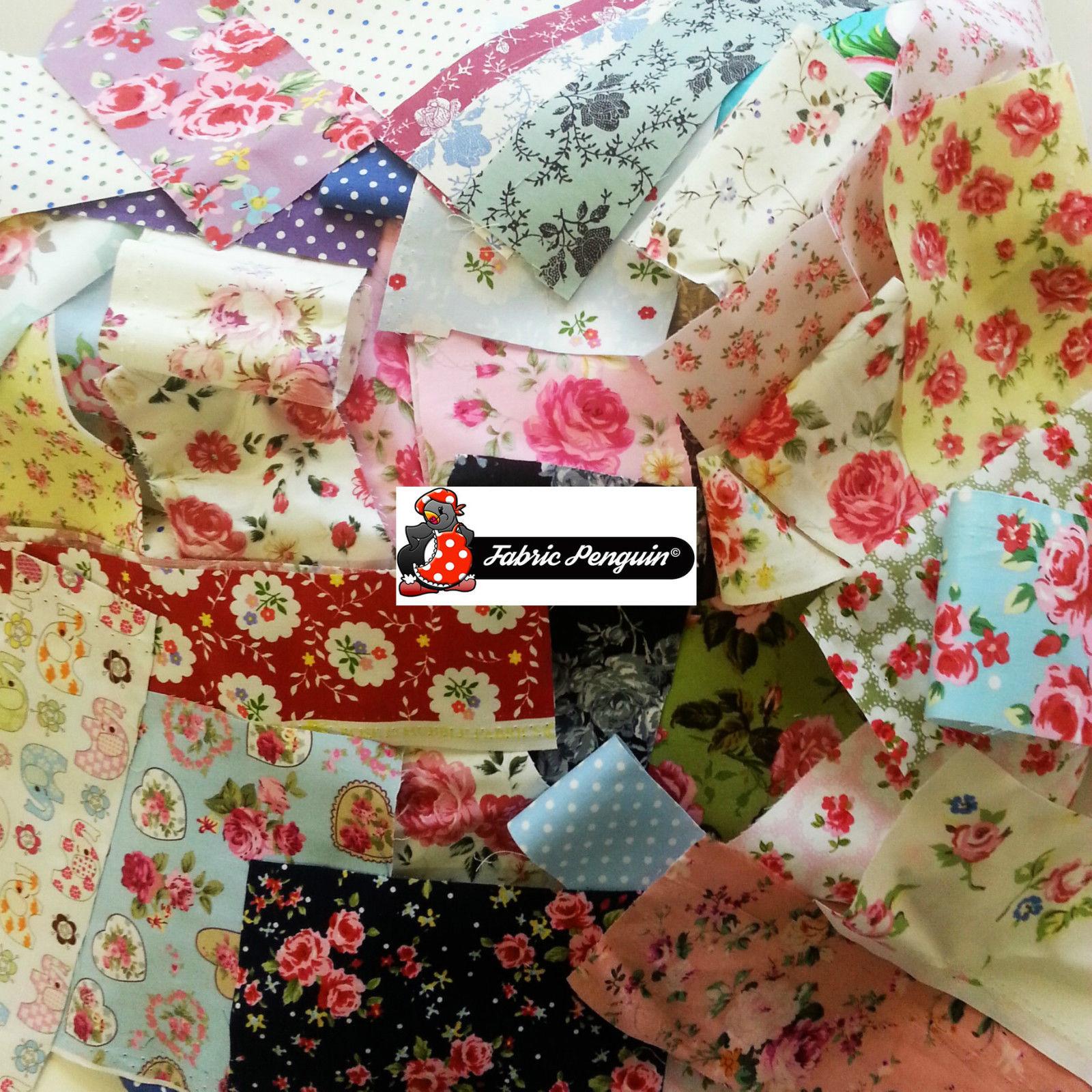 Fabric SCRAPS-VALUE PACK Floral Vintage Bundle Offcut Mixed Remnants Cotton Poly